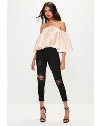 17bf0a04262 Lyst - Missguided Nude Satin Bardot Top in Natural