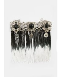 Missguided - Metallic Silver Ombre Tassel Drop Choker Necklace - Lyst