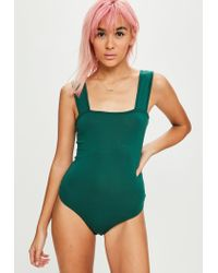 Missguided - Green Khaki Square Neck Thick Strap Bodysuit - Lyst