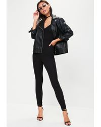 Missguided - Black Jersey Strappy Unitard Jumpsuit - Lyst
