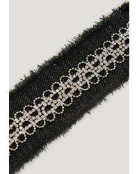 Missguided - Black Denim Diamante Trim Choker Necklace - Lyst