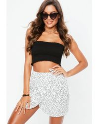 cc4ce669a7 Missguided White Spot Print Tie Side Mini Skirt in White - Lyst