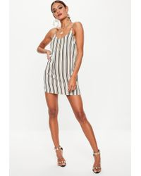 Missguided - White Striped Cami Crepe Shift Dress - Lyst