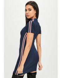 Missguided - Blue Carli Bybel X Navy Stripe Slinky Dress - Lyst