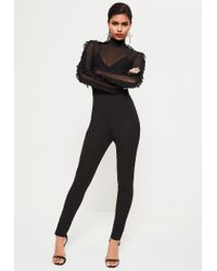Missguided - Black Mesh Top Frill Sleeve Jumpsuit - Lyst