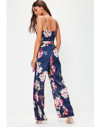 Missguided | Blue Navy Floral Print Slinky Jumpsuit | Lyst