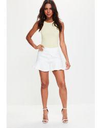Missguided - Yellow 90s Neckline Sleeveless Bodysuit - Lyst