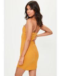 Missguided - Orange Mustard Scuba Plunge Bandeau Dress - Lyst