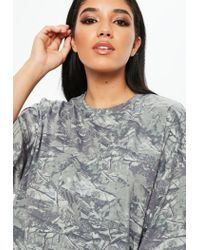 Missguided Gray Camo Drop Shoulder Oversized Washed Top