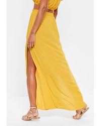 Missguided - Mustard Yellow Split Maxi Skirt - Lyst