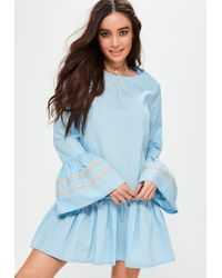 Missguided | Blue Ruffle Hem Oversized Trim Cuff Dress | Lyst