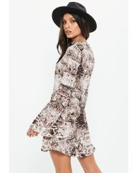 Missguided - Brown Snake Print Flare Sleeve Button Down Skater Dress - Lyst