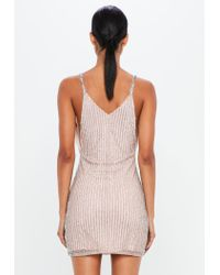 Missguided - Metallic Peace + Love Silver Embellished Bodycon Mini Dress - Lyst