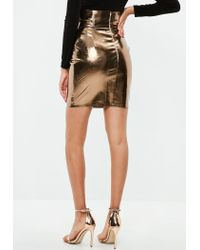 Missguided - Gold Super High Waist Metallic Skirt - Lyst