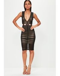 13989576c7 Missguided Black Sleeveless Plunge Ruched Mesh Midi Dress in Black ...