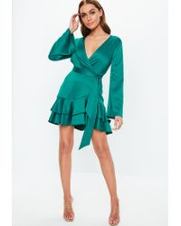 f9316f05e5 Lyst - Missguided Teal Plunge Wrap Skater Dress in Blue