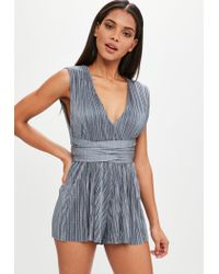 Missguided | Gray Grey V Front Plisse Tie Waist Playsuit | Lyst