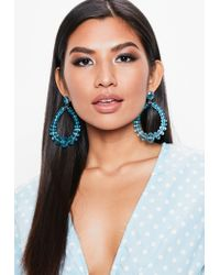 Missguided - Blue Clear Tear Drop Earrings - Lyst