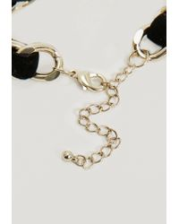Missguided - Black Band Gold Chain Choker Necklace - Lyst