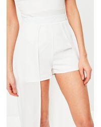 Missguided | White Chiffon Detail Maxi Shorts | Lyst