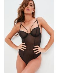 Missguided - Black Underwired Sheer Mesh Harness Body - Lyst