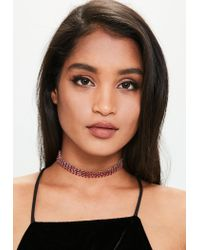 Missguided - Red Chainmail Choker Necklace - Lyst
