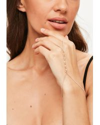 Missguided - Pink Rose Gold Fine Chain Stone Hand Chain - Lyst