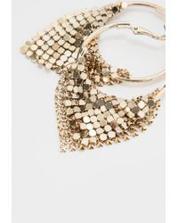 Missguided - Metallic Gold Chainmail Detail Hooped Earrings - Lyst
