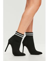 Missguided - Carli Bybel X Black Pointed Striped Boots - Lyst