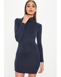 Lyst - Missguided Navy Long Sleeve Roll Neck Bodycon Dress in Blue 6bec80b9b