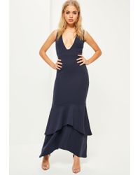 1683bd8bc9 Lyst - Missguided Navy Crepe Plunge Fishtail Maxi Dress in Blue