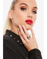 Missguided - Metallic Silver Diamante Layered Ring - Lyst