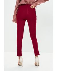 Missguided - Red Burgundy Lace Up Side Skinny Trousers - Lyst