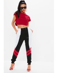 Missguided - Madison Beer X Red Embroidered Slogan Crop Top - Lyst