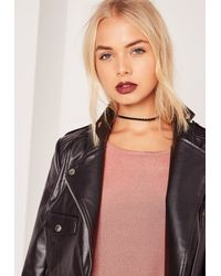 Missguided - Plaited Faux Suede Choker Necklace Black - Lyst