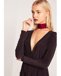 Missguided | Multicolor Wide Velvet Choker Necklace Red | Lyst