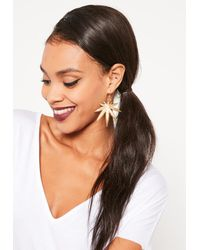 Missguided - Metallic Leaf Statement Earrings Gold - Lyst