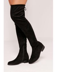 Missguided | Flat Over The Knee Boots Black | Lyst