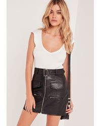 Missguided - Plunge Sleeveless Bodysuit White - Lyst