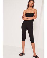 95dd51ebd3 Lyst - Missguided Jersey Bandeau Cropped Unitard Jumpsuit Black in Black