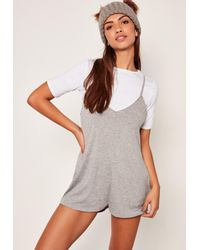 Missguided | Black 2 In 1 Playsuit Grey | Lyst