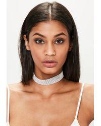 Missguided | Metallic Silver Diamond Choker Necklace | Lyst