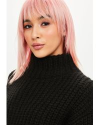Missguided - Black Chunky Step Hem High Neck Jumper - Lyst
