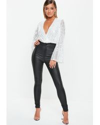 cbd0db184a Lyst - Missguided White Silver Sequin Plunge Bodysuit in White