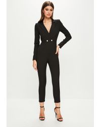 Missguided - Black Long Sleeve Double Button Jumpsuit - Lyst