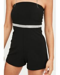 Missguided Black Bandeau Diamante Trim Playsuit