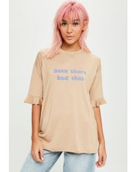 Missguided | Natural Nude Been There Had That Slogan T-shirt | Lyst