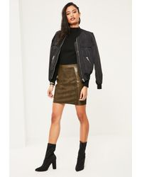 Missguided Multicolor Khaki Faux Leather And Suede A Line Mini Skirt
