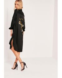 0a80ccc3be Missguided Embroidery Back Shirt Dress Black in Black - Lyst