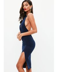 Missguided - Blue Navy Round Neck Keyhole Midi Dress - Lyst